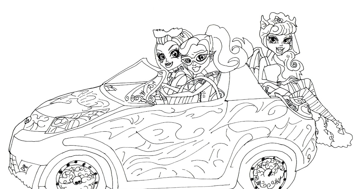 new monster high dolls 2014 coloring pages: Scaris Car