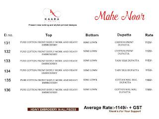 Kaara Suits mahe Noor Cotton Shiffly pakistani Suits wholesaler