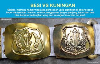 Contoh kopel security yang terbuat dari bahan besi (kanan) dan yang dari kuningan (kiri)