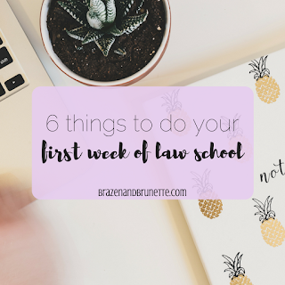 How to start law school on the right foot and how to be a successful 1L in law school! Your first week of law school you need to do your readings and your briefs, speak up in class, put your planner to use, fix your school email, meet with your study group, and go workout | brazenandbrunette.com