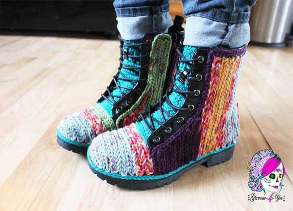 botines forrados crochet, cadenetas, forrar, labores, tunear, reciclar