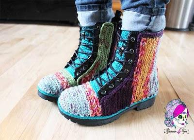 Botines forrados con cadenetas a crochet