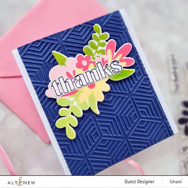 Altenew Floral thanks stamp set  and dies, Altenew Geo Diamonds 3 D embossing folder, Floral card, Colored cardstock,Thank you card, , Quillish
