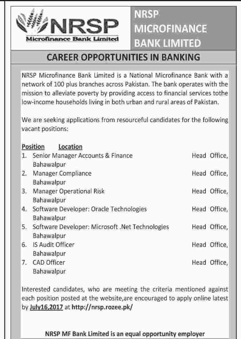 NRSP Micro finance Bank Jobs in Pakistan for Various Posts