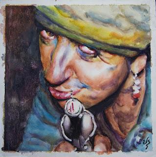 Cuadro de mujer con pistola