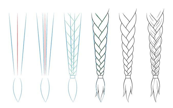 traight anime braid drawing