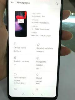 Hape Seken OnePlus 6 RAM 8GB ROM 128GB Mulus Normal Fullset