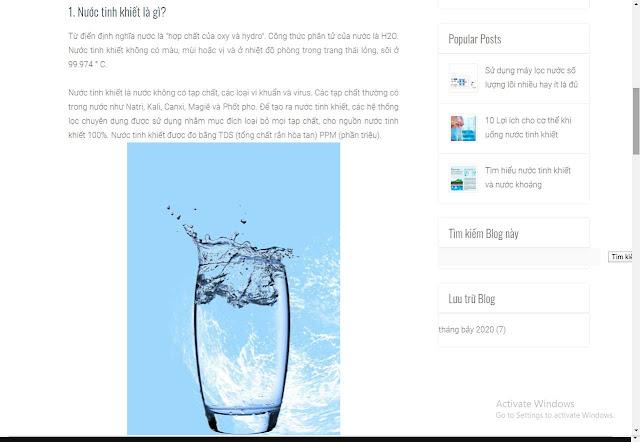 Mẫu website Nước tinh khiết