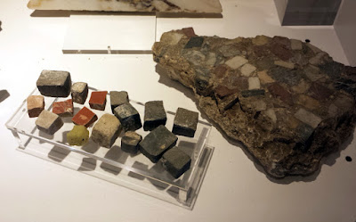 Mosaic Art material was excavated from local areas. Stones and Ceramic tesserae used in Roman Bavay.
