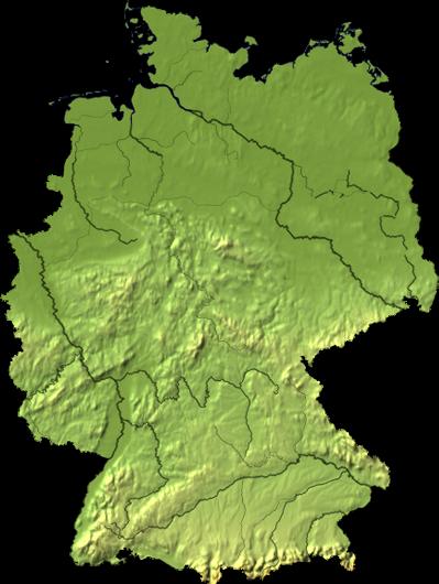 physische karte deutschland flüsse Physische Landkarte von Deutschland (Unbeschriftet mit Flüsse