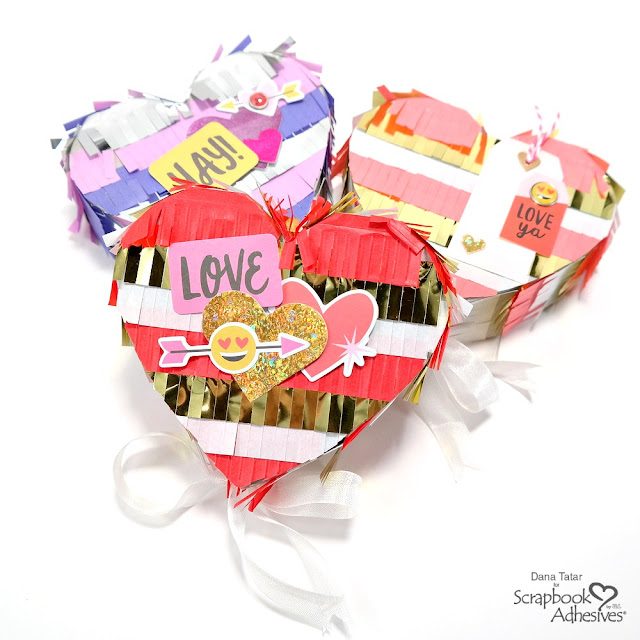 Heart-Shaped Pinatas for Valentine's Day with Holographic Foil 3D Foam Hearts