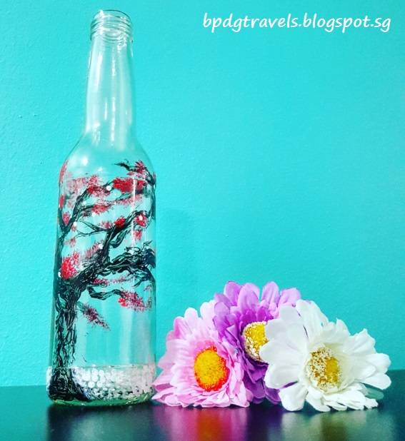 The heng family travel lifestyle blog diy glass bottle for How to paint bottles with acrylic