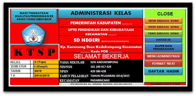 Aplikasi Administrasi Kelas KTSP SD Di Sertai Penilaian Ijazah Sementara