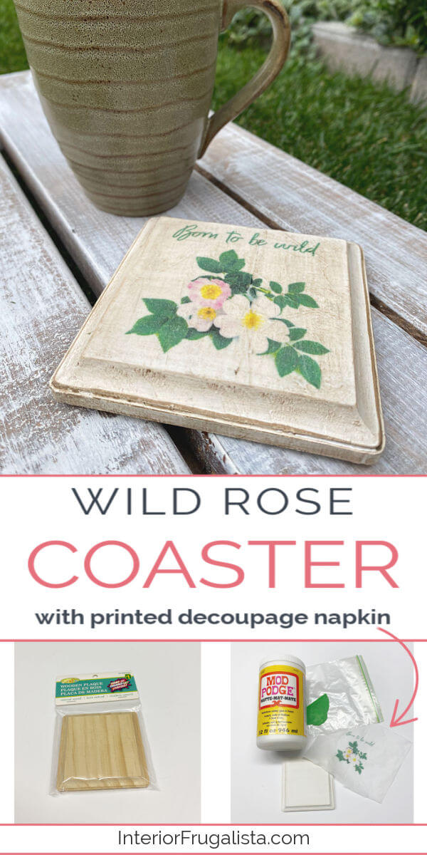 Wild Rose Decoupage Napkin Coaster