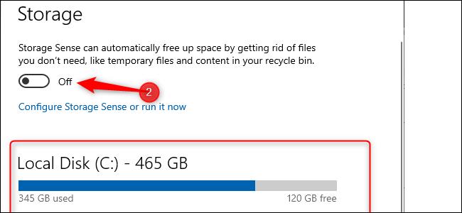 إعدادات تخزين Windows 10.  رسم بياني شريطي أزرق يشير إلى مقدار التخزين المستخدم