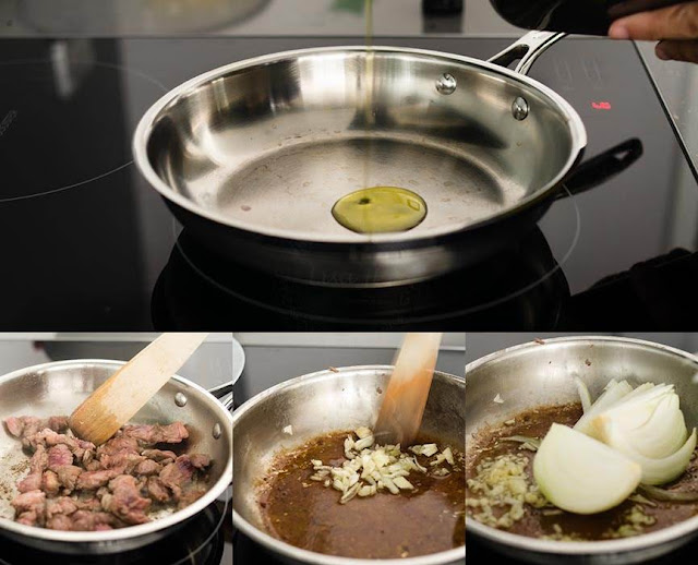 Steps before cooking beef stroganoff in a slow cooker image