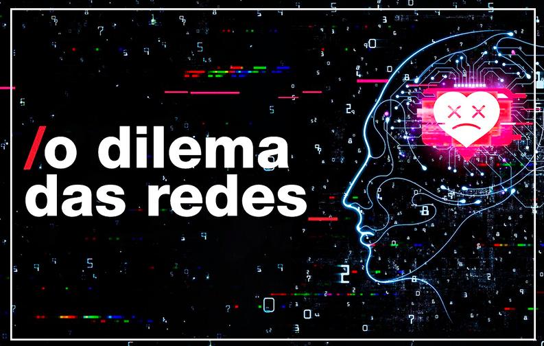 A imagem possui um fundo preto, com o formato de uma cabeça do lado direito, brilhando em cores neon. Junto a cabeça, vários circuitos e formas geometricas simulando peças de computador. A esquerda está escrito o dilema das redes