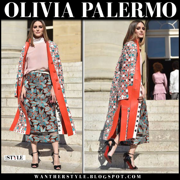 Olivia Palermo in printed fendi coat, green floral skirt and sandals louboutin fashion week july 2018