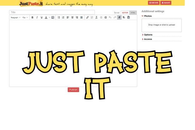 Just Paste it - Ιστοσελίδα για διαμοιρασμό μορφοποιημένου κειμένου