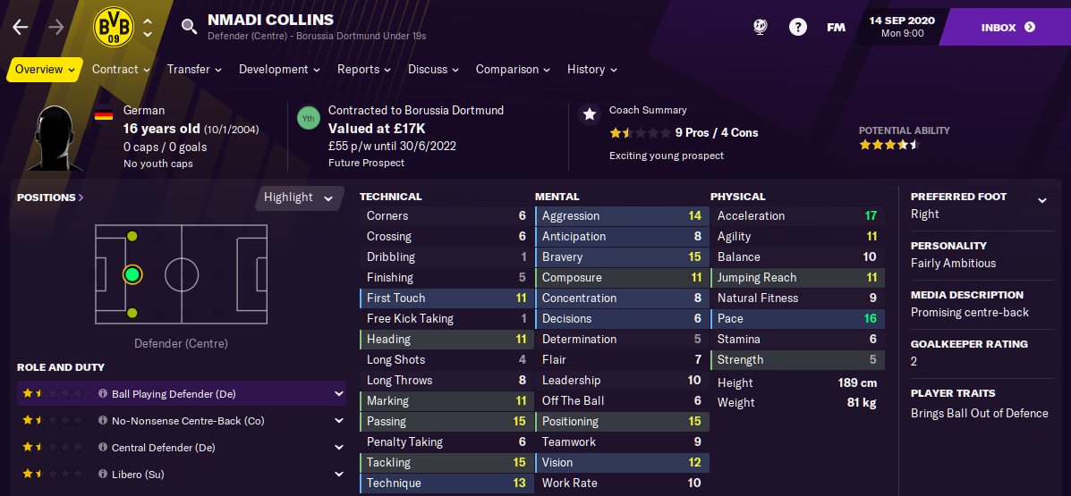 Football Manager 2021 Nmadi Collins FM21