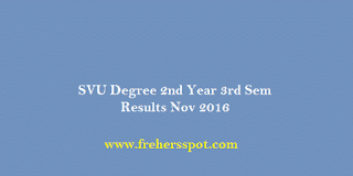 SVU Degree 2nd Year 3rd Sem Results Nov 2016