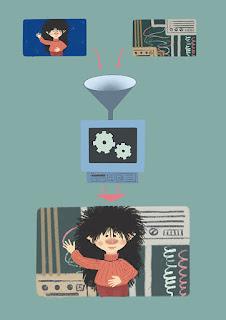 Ilustración de Mirilustra donde explica el funcionamiento del Chroma-key