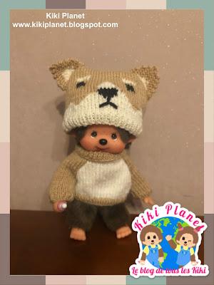 kiki monchhichi outfit kawai tricot Shiba inu handmade fait main doll poupée akita