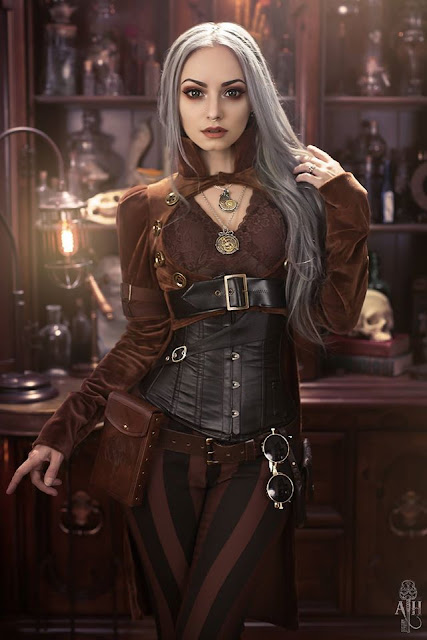 Steamgirl Genevieve wearing steampunk clothing from Kato's Steampunk Couture line. Women's steampunk fashion