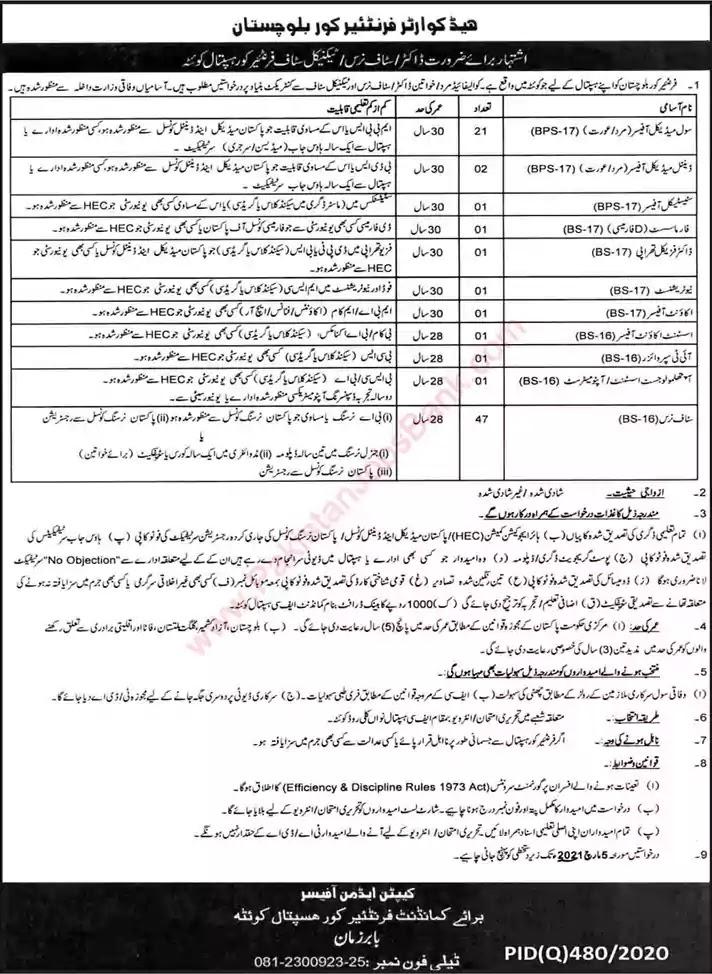 Latest Jobs in Pakistan Frontier Corps Hospital Quetta Jobs 2021
