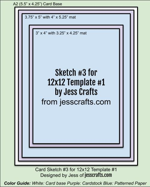 Card Sketch 3 for 12x12 Paper Cutting Template #1 by Jess Crafts
