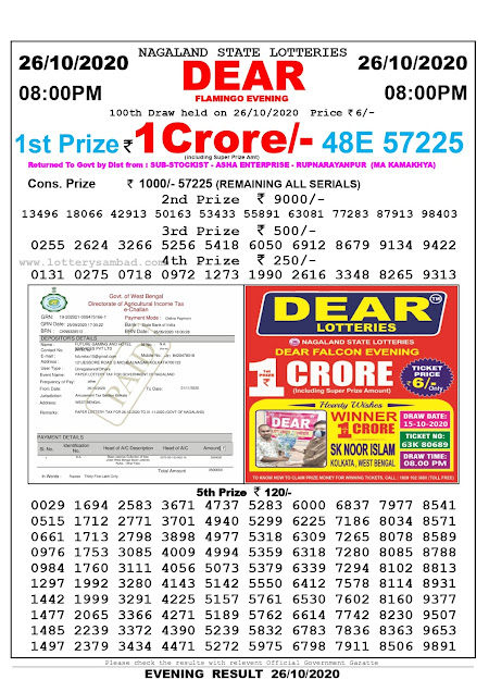 8pm Lottery Sambad, 26.10.2020, Sambad Lottery, Lottery Sambad Result 8 00 pm, Lottery Sambad Today Result 8 pm, Nagaland State Lottery Result 8 00 pm