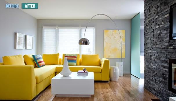 sala muebles amarillos