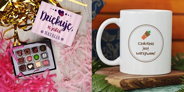 czekoladki personalizowane z dedykacją, zabawny kubek na kawę i herbatę z nadrukiem