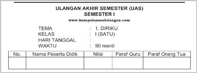 Download Soal PAS UAS Kelas 1 Tema 1 Semester 1