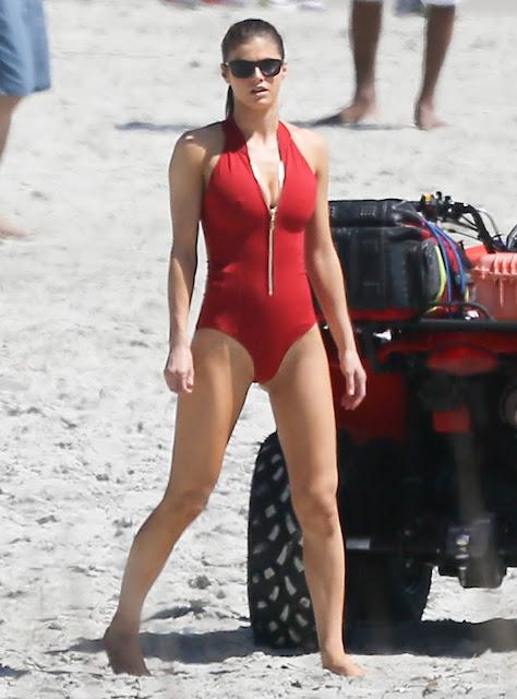 Alexandra Daddario white Baywatch bikini