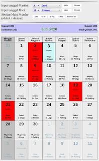Kalender Jawa hari baik bulan juni 2020