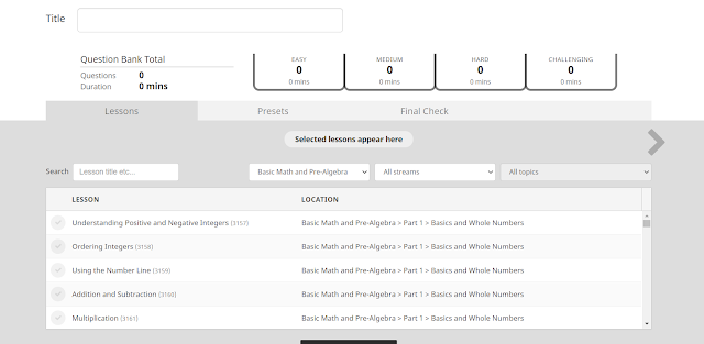 CTCMath also allows you to add more practice problems and tests for individual students.