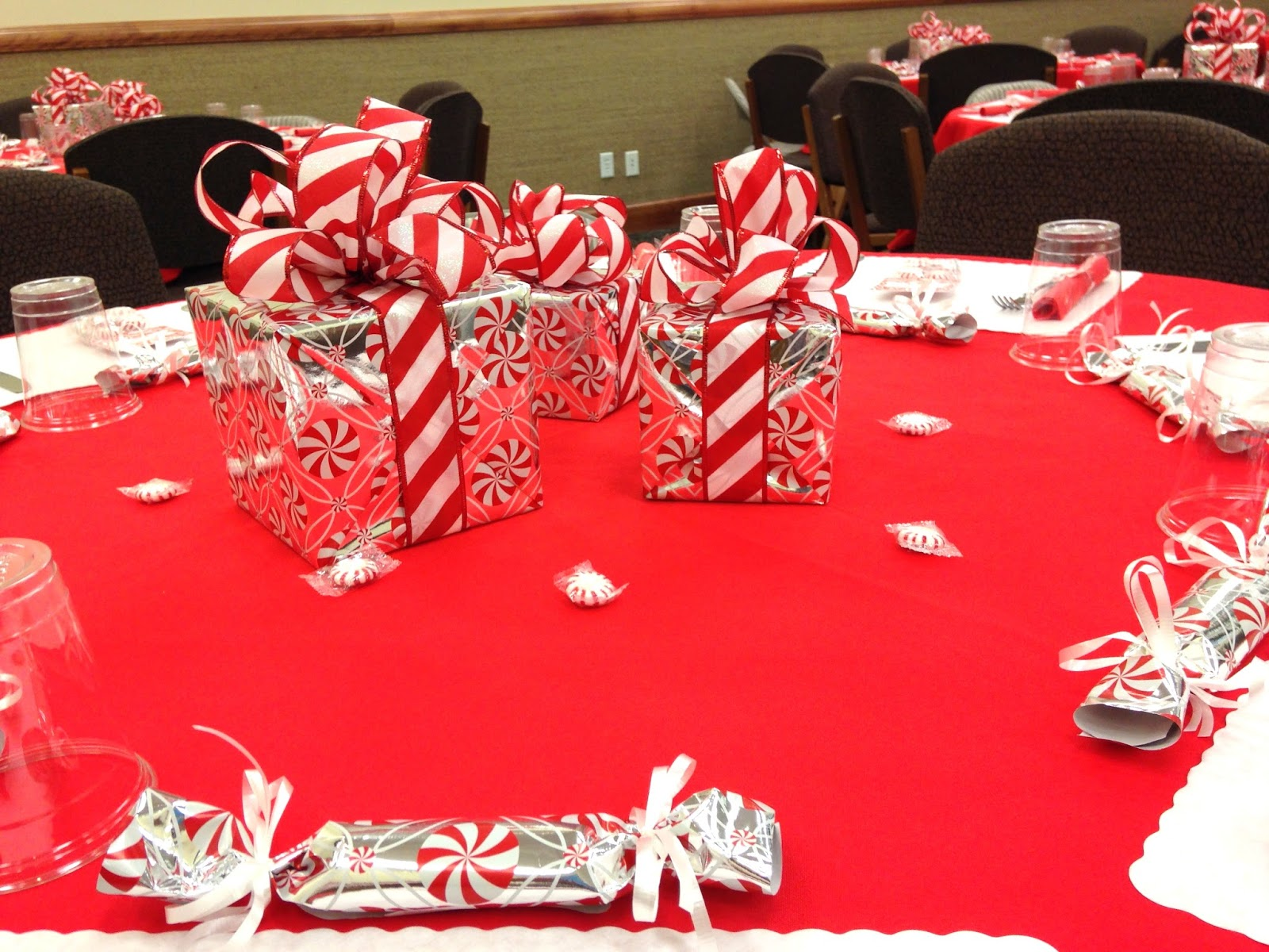The peppermints would have been fine for the centerpieces but instead I used them around the room and found beautiful peppermint wrapping paper at Hobby ... & CreateJoy2Day: January 2018