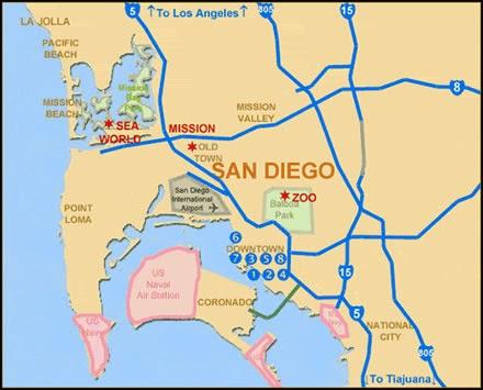 Regiões para ficar hospedado em San Diego