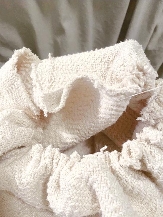 gathered fabric for bottom of basket
