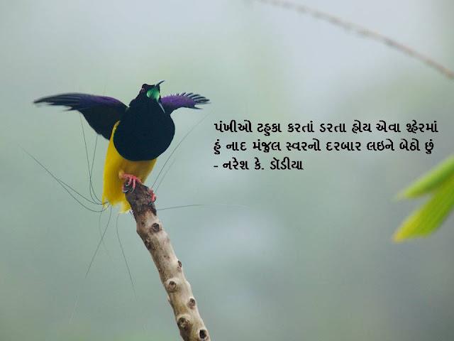 पंखीओ टहुका करतां डरता होय एवा श्हेरमां  Gujarati Sher By Naresh K. Dodia