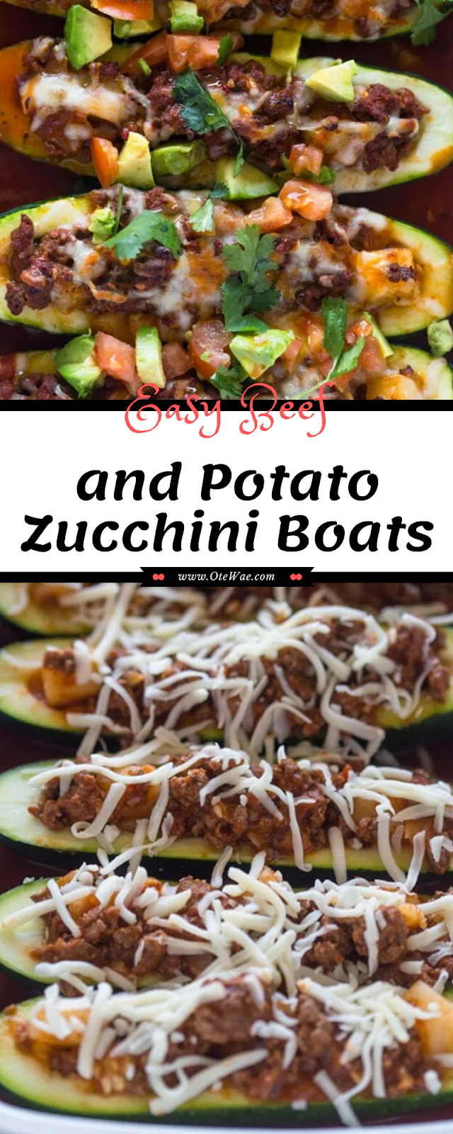 Easy Beef and Potato Zucchini Boats