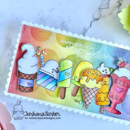 Ice cream birthday card by Farhana Sarker | Summer Scoops Stamp Set by Newton's Nook Designs #newtonsnook #handmade