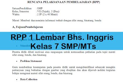 RPP 1 Lembar Bhs. Inggris Kelas 7 SMP/MTs