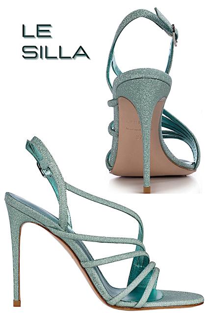 Le Silla Scarlett blue marine glitter fabric sandal #lesilla #shoes #brilliantluxury