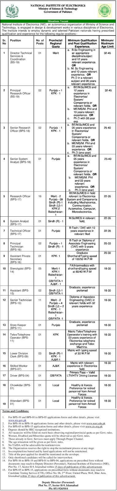 National Institute of Electronics (NIE), Government of Pakistan Latest jobs 2019