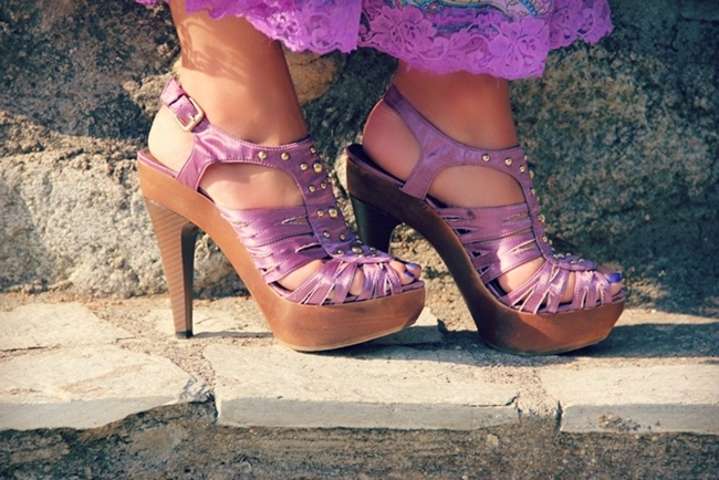 purple satin sandals with wooden platforms and gold studs