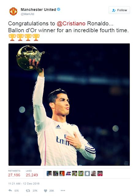 Ronaldo Mendapat Ucapan Dari Manchester United