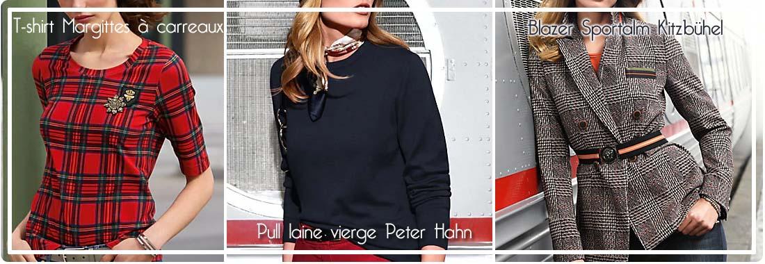 Peter Hahn: tee shirt  le prince-de galles, pull laine vierge et blazer
