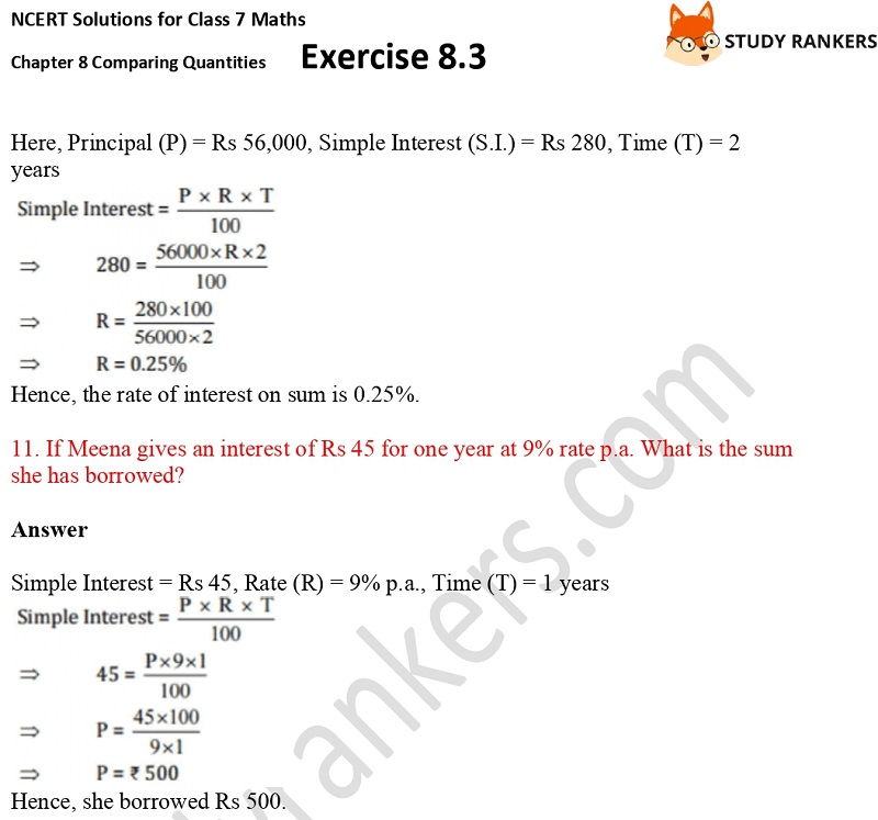 NCERT Solutions for Class 7 Maths Ch 8 Comparing Quantities Exercise 8.3 6